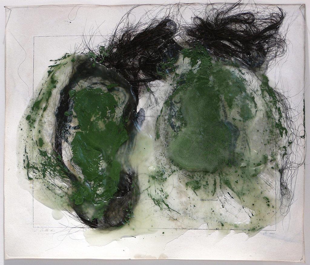 Sécrétion mentale, 2016 - Encre sur papier gravure, cheveux, cire et pigment - 20x23 cm